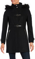Ivanka Trump Faux Fur-Trimmed Wool-Blend Coat
