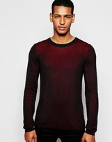 Antony Morato Two Tone Knitted Crew Neck Jumper - Red