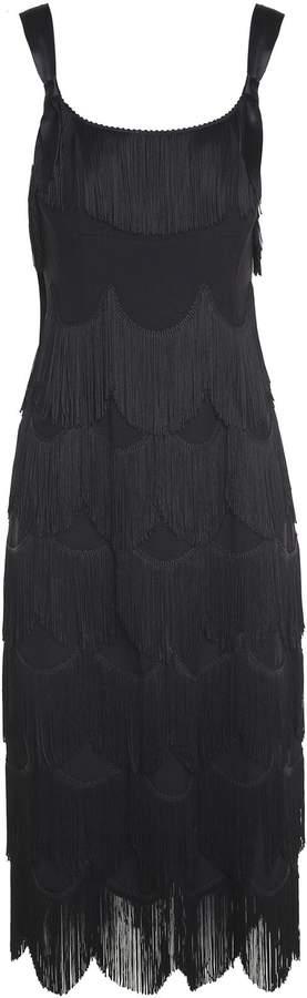 Marc Jacobs Ribbon-strap Fringed Crepe Dress