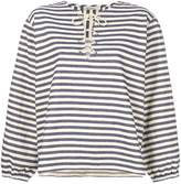 Mes Demoiselles lace up striped top