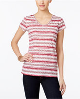 Style&Co. Style & Co Petite Paisley-Striped T-Shirt, Only at Macy's