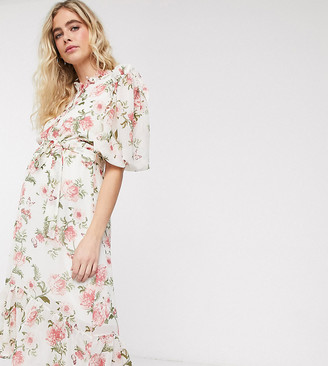Queen Bee Maternity puff sleeve ruffle detail midi dress in cream floral print