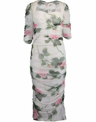 Dolce & Gabbana Tropical Rose Print Tulle Dress