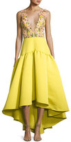 Marchesa Sleeveless Floral & Crepe Gown, Chartreuse