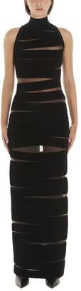 Balmain Ribbed Detail Sheer Turtleneck Dress