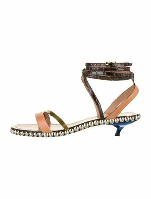 Marni Leather Studded Accents Sandals Brown
