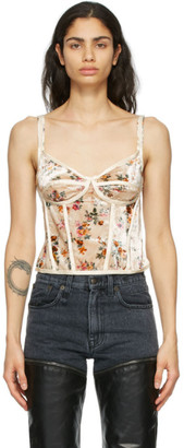 R 13 Off-White Velvet Floral Corset Camisole