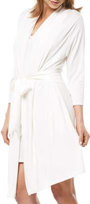 Fleurt Fleur't Take Me Away Short Jersey Robe w/ Silk Ties, Ivory