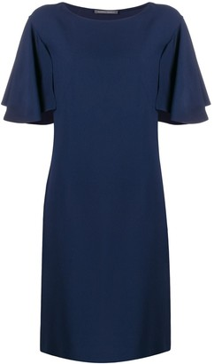 Alberta Ferretti Ruffled Sleeve Shift Dress