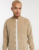 Asos Design DESIGN regular fit cord shirt with grandad collar in ecru