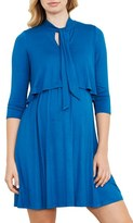 Maternal America Women's Tie Neck Maternity Dress