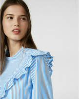Express striped ruffle yoke blouse
