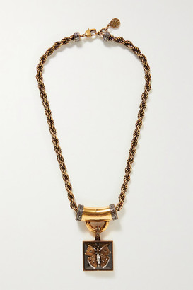 Alexander McQueen Gold-tone, Resin And Crystal Necklace - one size