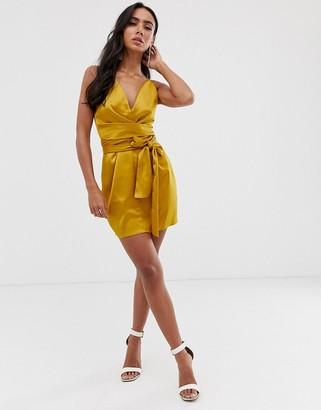 Asos DESIGN cami mini dress with wrap waist in satin