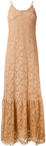 Nude long sleeveless lace dress