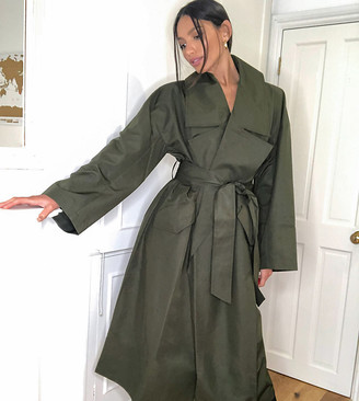Asos Tall ASOS DESIGN Tall slouchy oversized lightweight trench coat in khaki