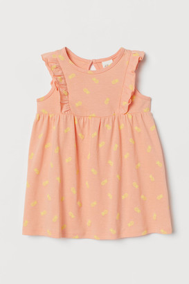 H&M Ruffle-trimmed Cotton Dress - Orange