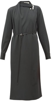 Bottega Veneta Draped Wool-gabardine Midi Dress - Green