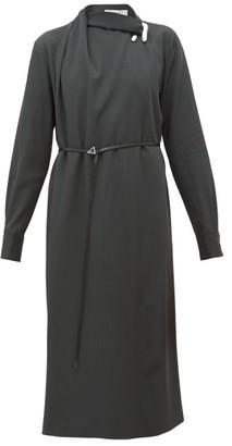Bottega Veneta Draped Wool-gabardine Midi Dress - Womens - Green