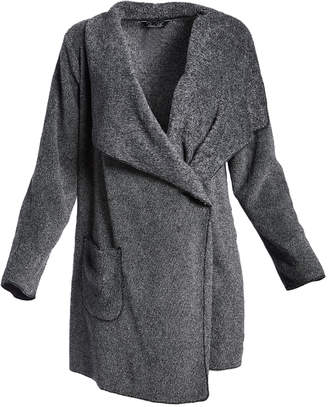 Rene Rofe Women's Open Cardigans BLACK - Charcoal Gnarly Marly Drape-Front Wrap Cardigan - Women