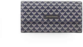 Emporio Armani Blue Beige Flap Wallet