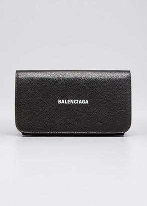 Balenciaga Grained Logo Bifold Wallet with Chain Strap