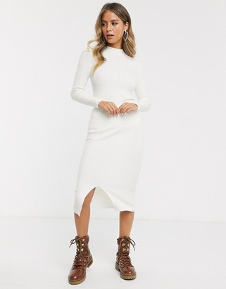 JDY two-piece ribbed midi skirt in cream