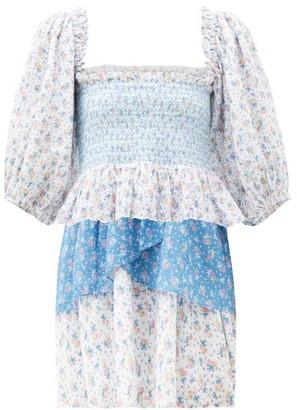 LoveShackFancy Shaw Floral-print Gathered Cotton-poplin Dress - Blue Multi