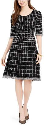 Taylor Plaid Fringe-Trim Sweater Dress