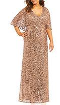 Cachet Plus Sequined Capelet Gown