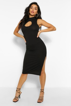 boohoo Rib Cut Out Side Split Midi Dress