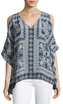Tolani Serena Open-Shoulder Printed Tunic