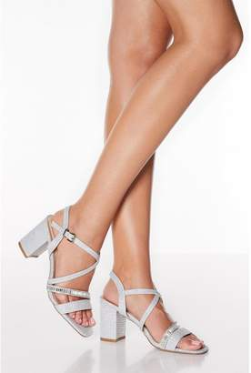 Quiz Silver Shimmer Block Heel Sandals