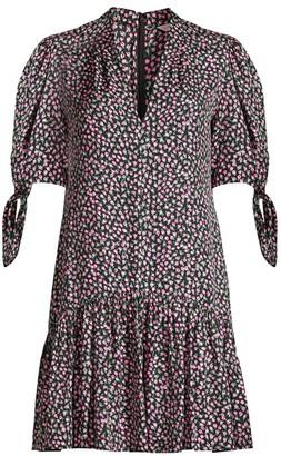 Rebecca Taylor Wild Rose Flounce Hem Mini Dress