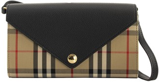 Burberry Hannah Vintage Check And Leather Wallet With Detachable Strap