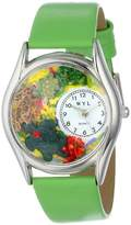 Whimsical Watches Turtles Green Leather and Silvertone Unisex Quartz Watch with White Dial Analogue Display and Multicolour Leather Strap S-0140004