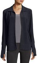 Norma Kamali Bonded Jersey Zip-Front Turtle Jacket, Dark Navy
