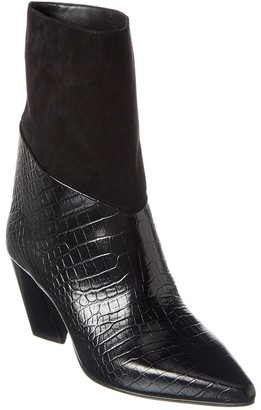Jimmy Choo Bear 65 Croc-Embossed Leather & Suede Bootie
