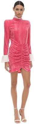 Rotate by Birger Christensen Ruffled Collar & Cuffs Velvet Mini Dress