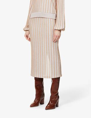 ART DEALER Gigi stripe high-waist knitted midi skirt
