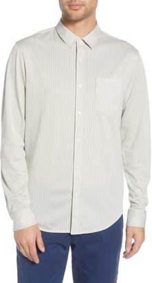 Club Monaco Regular Fit Stripe Cotton Blend Knit Sport Shirt