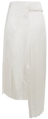 Marni Asymmetric Pleated Satin Midi Skirt