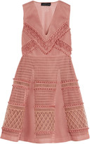 Burberry Embroidered honeycomb-mesh mini dress