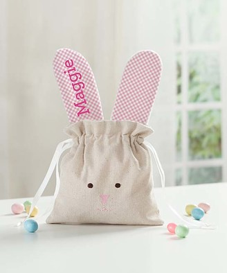 Personalized Planet Handbags - Pink Gingham Personalized Linen Bunny Drawstring Bag