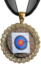 GiftJewelryShop Gold-plated Olympics Archery target White Crystal Charm Pendant Necklace