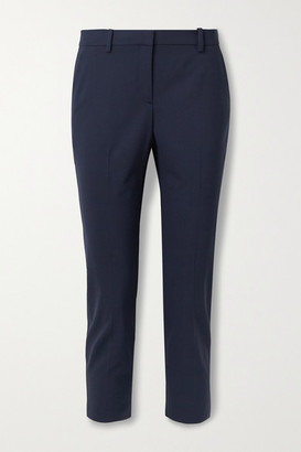 Theory Treeca 2 Cropped Stretch-wool Straight-leg Pants - Midnight blue