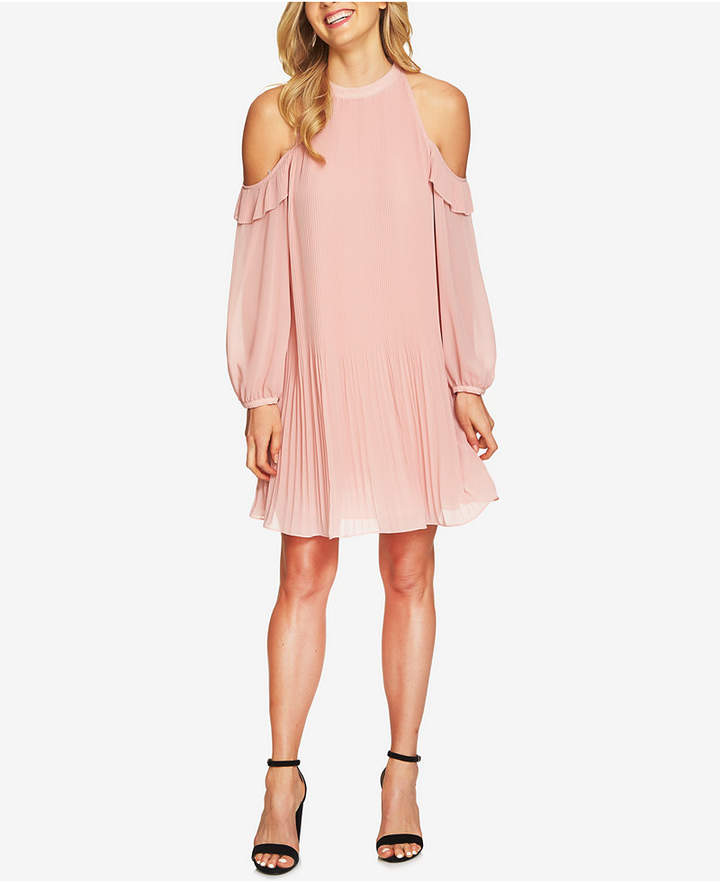 CeCe Pleated Cold-Shoulder Shift Dress