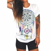 Qiyun Women Summer T-Shirt Dream Catcher Printed Short Sleeve Tops Blouse