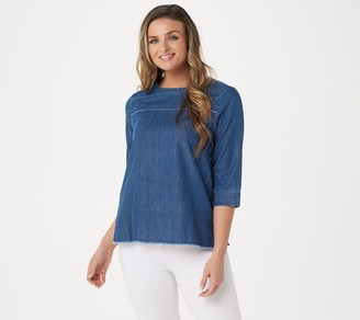 Martha Stewart Denim 3/4 Sleeve Blouse with Frayed Detail