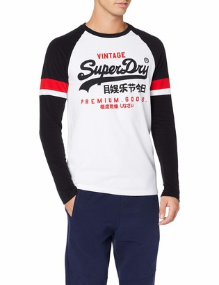 Superdry Men's Vl Tri Colour Raglan Ls Tee Long Sleeve Top